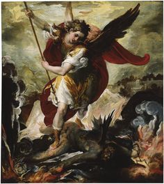 Classic Angel Paintings | Francesco Maffei, The Archangel Michael overthrowing Lucifer, ca. 1656