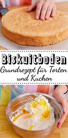 Biskuitboden backen – das Grundrezept This for sponge cake always works! Cheese Cake Receita, Buckwheat Cake, Baked Cheesecake Recipe, Maila, Sponge Cake Recipes, Bread Recipes, Food Inspiration, Nutella, Bakery