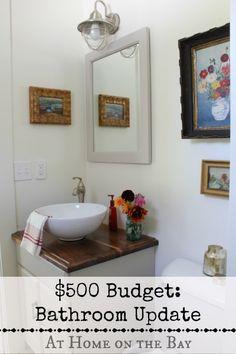 "I added ""Bathroom Updates on a $500 Budget "" to an #inlinkz linkup!http://www.athomeonthebay.com/2013/10/bathroom-updates-500-budget.html"