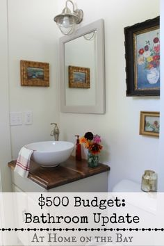 "I added ""Bathroom Updates on a $500 Budget "" to an #inlinkz linkup!http://www.athomeonthebay.com/2013/10/bathroom-updates-500-budget.html"