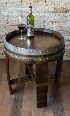Red Mahagony Stained Wine Barrel End Table by alpinewinedesign More