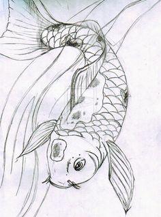 Sketch - Koi Fish by killedmyhopes.deviantart.com