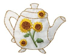 ID 9062 Porcelain Sunflower Floral Teapot Embroidered Iron On Applique Patch #CoolPatches