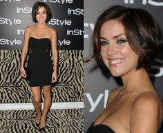 Jessica Stroup With her pretty short hair. Loved her hair, makeup, and dress. So pretty. |Pinned from PinTo for iPad|