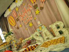 hot air balloon dessert buffet set up Buffet Set Up, Dessert Buffet, Hot Air Balloon, Party Themes, Balloons, Rainbow, Clouds, Desserts, Rain Bow