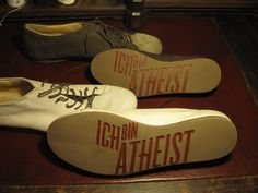 Atheist / Berlin is raising funds for Atheist Shoes on Kickstarter! Now atheists have soles too! Inspired by the Bauhaus & begotten of the finest materials, here's a dollop of godless love, in a shoe. The God Delusion, Step Function, Flying Spaghetti Monster, Believe In God, Atheism, List, Online Jobs, Seal, Packaging