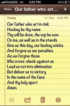 Hockey prayer, <3