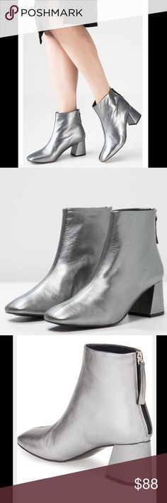 Topshop metallic silver flared heel leather boots Brand new without box. Size 6.5. 100% genuine leather. Super cool 'flared' boot heel. Super cool, right on trend with some edginess, ankle boots! Topshop metallic silver flared heel leather boots. Topshop Shoes Ankle Boots & Booties