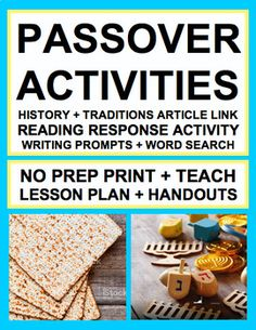 March - April: PASSOVER: NO PREP Lesson Plan & Student Printables for PASSOVER. Simply Print, Project & Teach this PASSOVER!! #passoverlessons #passoveractivities