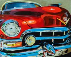 """Daily Paintworks - """"Vintage Cadillac"""" - Original Fine Art for Sale - © Andre Beaulieu"""
