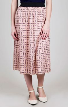 Flower Dot Chiffon Mid Calf Skirt