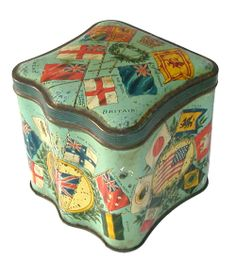 "British 1900 biscuit tin,""Flags of Nations"" tin."