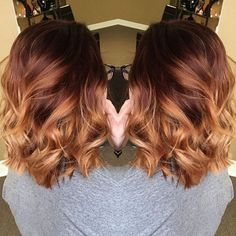 Beautiful LOB Dark Brown to Light Copper Balayage Hair