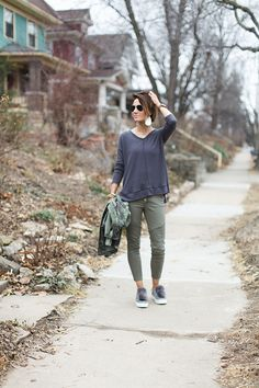 camo jacket, olive pants, olive skinnies, pom poms, thermal, leather earrings