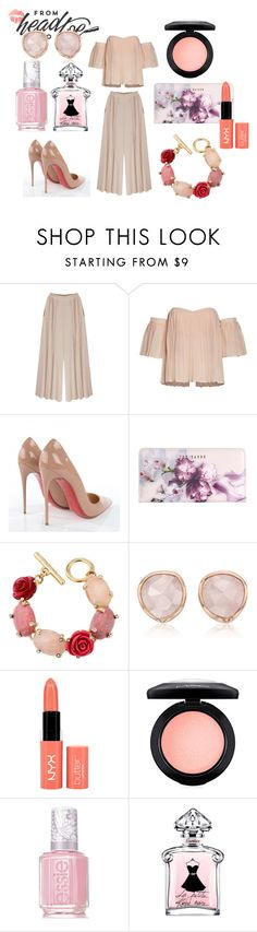 """LONDON CITY!"" by dina-minichino on Polyvore featuring Christian Louboutin, Ted Baker, Oscar de la Renta, Monica Vinader, NYX, MAC Cosmetics e Essie"