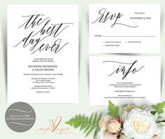 Printable wedding invitation suite w0162 consists of invitation printable wedding invitation suite w0162 consists of invitation card rsvp and info card designs in hand lettered typography theme invitation suite stopboris Gallery