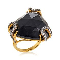Facets Triangular Black Onyx and CZ Ring