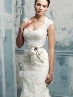 Ivory Satin/Lace Mermaid Halter Puddle Train Bow/Belt Beading Wedding Gown