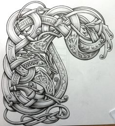 Stylised arm and chest design by Tattoo-Design