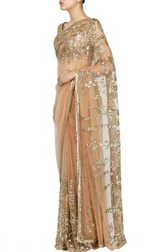 Sarees, Sarees, Clothing, Carma, Peach floral thread and sequins embroidered saree
