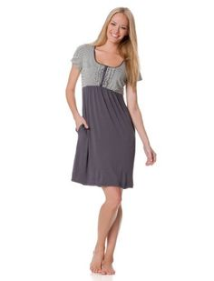 A Pea in the Pod: Short Sleeve Scoop Neck Ruffle Front Nursing Nightgown A Pea in the Pod. $44.99