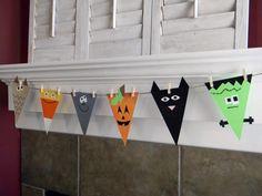 Los banderines tan de moda, esta vez con caritas alusivas a Halloween