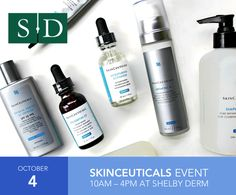 🗓 Mark Your Calendars: Shelby Dermatology's SkinCeuticals event is next Tuesday, October 4th!  📲 RSVP by calling  (205) 621-9500 and come to the office between 10am and 4pm to receive 20% OFF SkinCeuticals products, plus:  ✅ FREE Mini Facial or Peel: with the purchase of $99 worth of SkinCeuticals  ✅ Enter to Win a FREE Hydrafacial: $150 value  ✅ Food and Beverages!