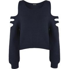 Aniya Knitted Off Shoulder Jumper ($23) ❤ liked on Polyvore featuring tops, sweaters, shirts, jumper, navy blue, navy blue shirt, crop top, short sleeve sweater, off the shoulder shirts and cut out shoulder shirt