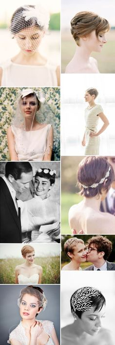 An idea filled inspiration post showing brides how to style their short and mid-length hair on their wedding day. Short Chic Wedding Hair Inspiration 0044 Short And Chic. Short Wedding Hair, Wedding Hair Flowers, Flowers In Hair, Chic Wedding, Short Hair Brides, Trendy Wedding, Wedding Dresses, Wedding Rings, Pixie Hairstyles