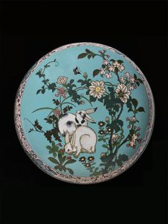 Cloisonné enamel lidded bowl, the cover decorated with two rabbits amongst flowers, attributed to Hayashi Kodenji I, Japan, ca. 1870-75.