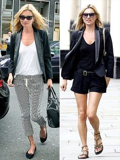 KATE MOSS'S BLAZER  The newlywed supermodel's signature London style never falters: Her leather-lapel blazer looks as chic with a loose-fit tee and striped trousers as it does with black shorts, studded sandals and a chain-strap bag.