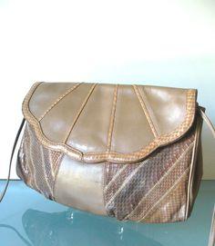 Vintage Varon Leather & Snakeskin Shoulder Bag by TheOldBagOnline on Etsy