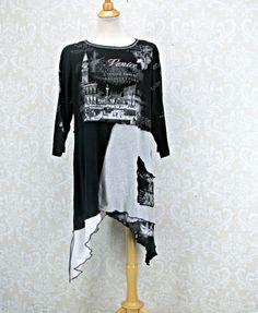 Plus Size 1X Tunic,Upcycled Clothing,Black Grey White,TShirt Top,Plus Size Clothing,Boho Tunic,Eco Fashion,Repurpose Couture,Womens Tunic