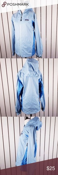 """Patagonia Women's size M light blue raincoat In good condition, no holes, zippers are working perfectly, plastic layer around inner collar peeled lightly along seam lines  ( please see pic) Length: 26"""" Armpit to armpit:21"""" Patagonia Jackets & Coats"""