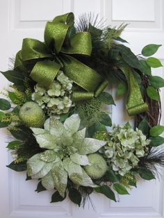 Christmas Wreath, Grapevine Wreath, Front Door Wreath, Green Floral Wreath, Poinsettia Wreath, Holiday Wreath, Handmade Wreath, Custom Wreath. With luxurious upscale textures this lovely Christmas wreath will surely impress on your front door. Features green velvet poinsettias and