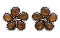 Sterling Silver Koa Wood Plumeria Post Earrings (8 Millimeters) *** More info could be found at the image url.