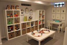Children& playroom with Ikea storage- Kinderspielzimmer mit Ikea-Aufbewahrung Children& playroom with Ikea storage - Ikea Kids Storage, Cube Storage, Storage Ideas, Wall Storage, Basement Storage, Toy Room Storage, Large Toy Storage, Diy Storage, Ikea Storage Shelves