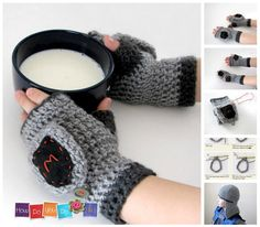 Knight Mittens , Crochet Pattern , Fingerless Knight Gloves with Flap for boy, Instant Download PDF Pattern, Beginner Crochet Photo Tutorial by HowDoYouDoIt on Etsy