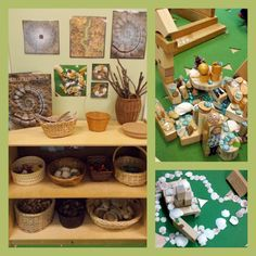An example of loose parts center and some examples of children's creations. The educator has organized materials in baskets and I also liked how they have incorporated visual cues like books and photos on the wall. Play Based Learning, Learning Through Play, Early Learning, Classroom Setting, Classroom Design, Creative Area, Block Center, Reggio Classroom, Preschool Rooms