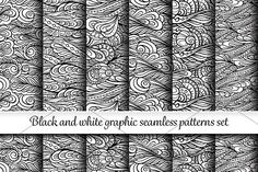 6 black and white seamless patterns  by Sable on @creativemarket