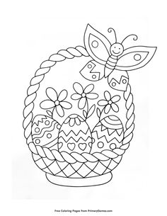 Free printable Easter Coloring Pages eBook for use in your classroom or home from PrimaryGames. Print and color this Easter Basket coloring page. drawings basket Easter Basket Coloring Page Easter Coloring Sheets, Easter Bunny Colouring, Spring Coloring Pages, Easy Coloring Pages, Free Adult Coloring Pages, Flower Coloring Pages, Coloring Books, Easter Coloring Pages Printable, Mandala Coloring