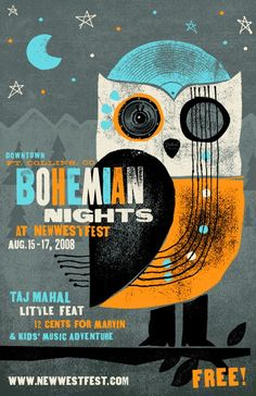 Illustration   Bohemian Nights at NewWestFest music festival poster with owl, Designer: Mikey Burton