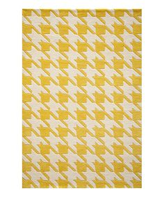 Another great find on #zulily! Yellow Houndstooth Wool Rug by Momeni Rugs #zulilyfinds