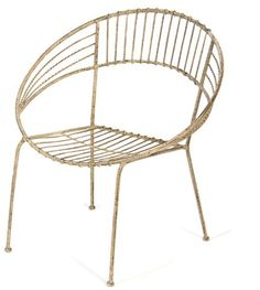 """Round Metal Chair in Ivory Design by Skalny $92 at Burke Decor  26""""L x 22"""" Deep x 29.25""""H - Seat is 15""""L x 17"""" Deep. Skalny is a line that caters to the refined markets of home décor, gift and food service. Elegant and clea"""