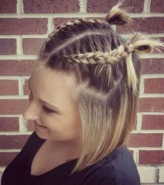 Stylish Low Maintenance Haircuts and Hairstyles Bob with two braids half updo.Bob with two braids half updo. Short Hair With Bangs, Braids For Short Hair, Girl Short Hair, Long Hair Cuts, Bob With Braid, Shorter Hair, Box Braids Hairstyles, Short Bob Hairstyles, Girl Hairstyles