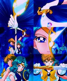 Sailor Moon SuperS Movie: Black Dream Hole. Space Sword Blaster and Submarine Reflection. Sailor Uranus and Sailor Neptune.