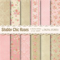 "Shabby Chic Digital Paper:"" SHABBY PINK BEIGE"" Floral Vintage Background with roses for scrapbooking, invites, cards  - Buy 2 Get 1 Free"