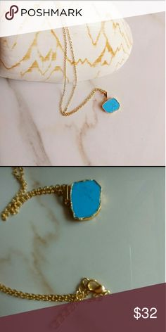 Dainty jewelry 18k gold plated necklace Natural turquoise 18k gold plated  10 inch long 1 inch extension chain Charm authentic turquoise half an inch wide Alquimia Jewelry Necklaces