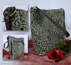 CCW Purse   Turquoise & Chocolate Rose Concealed-Carry Tote Purse