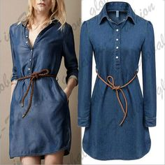 Best value Ladies Denim Dresses – Great deals on Ladies Denim Dresses from global Ladies Denim Dresses se 2016 summer style brand ladies denim dress women long sleeve ladies casual jeans dress with belt vestidos Plus size(China (Mainland)) Cotton Shirt Dress, Denim Shirt Dress, Long Sleeve Shirt Dress, Denim Jeans, Casual Jeans, Dress Long, Long Dresses, Chic Outfits, Fashion Outfits